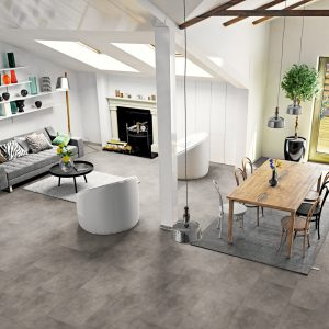 Interieurfoto Gelasta PVC Dryback Pure Tile 8506 Basalt Light Grey